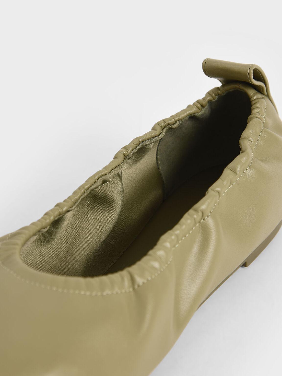 Ruched Ballerina Flats, Sage Green, hi-res