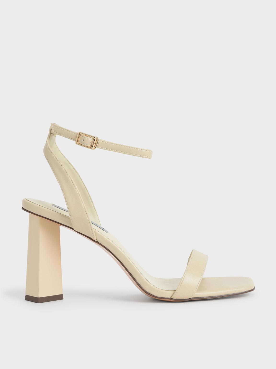 Ankle Strap Geometric Heeled Sandals, Chalk, hi-res