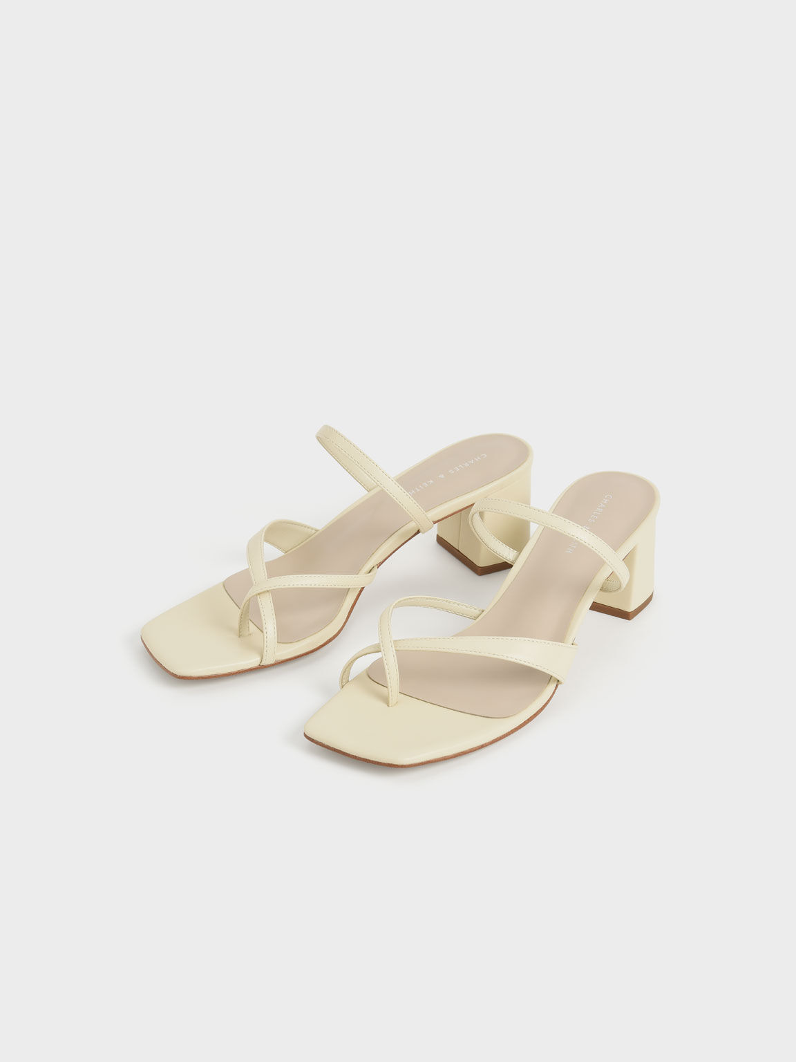 Block Heel Toe Loop Sandals, Chalk, hi-res