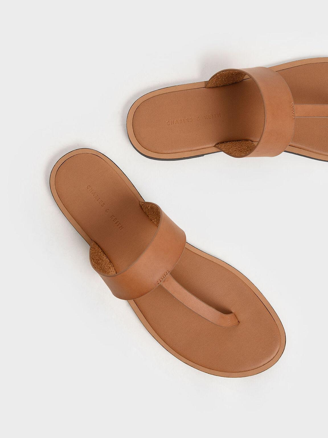 T-Bar Slide Sandals, Cognac, hi-res