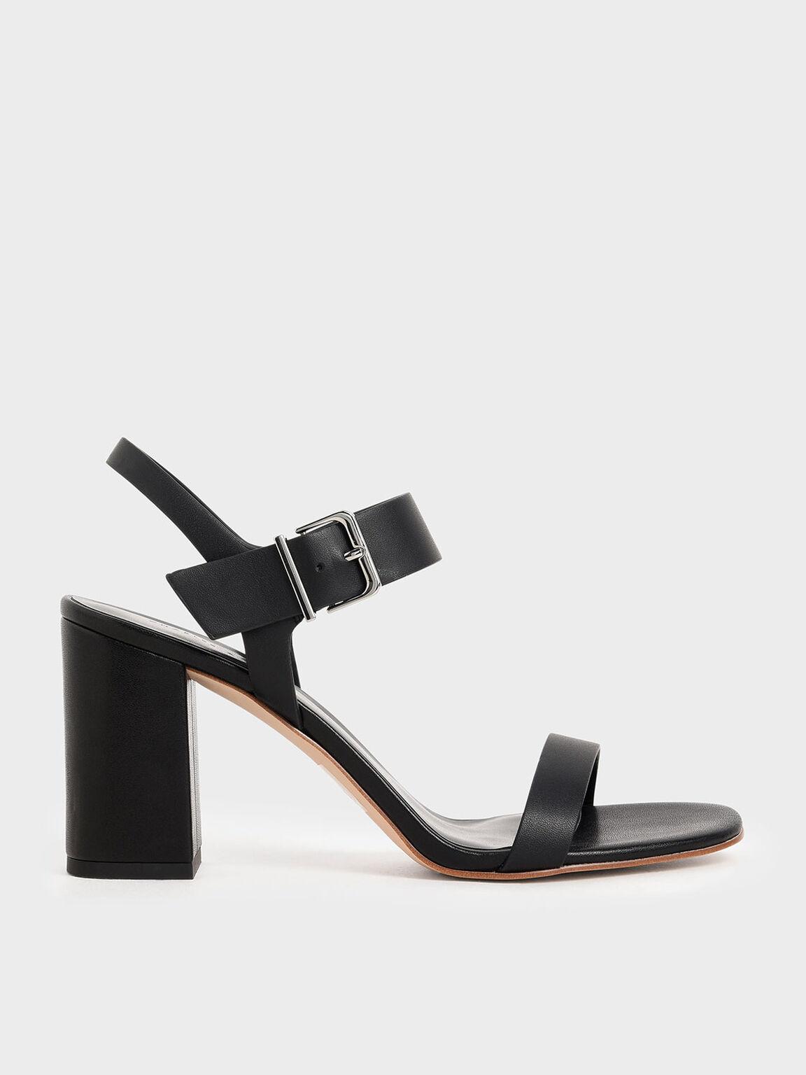 Block Heel Sandals, Black, hi-res