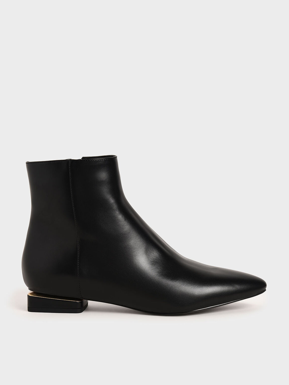 Metallic Accent Ankle Boots, Black, hi-res