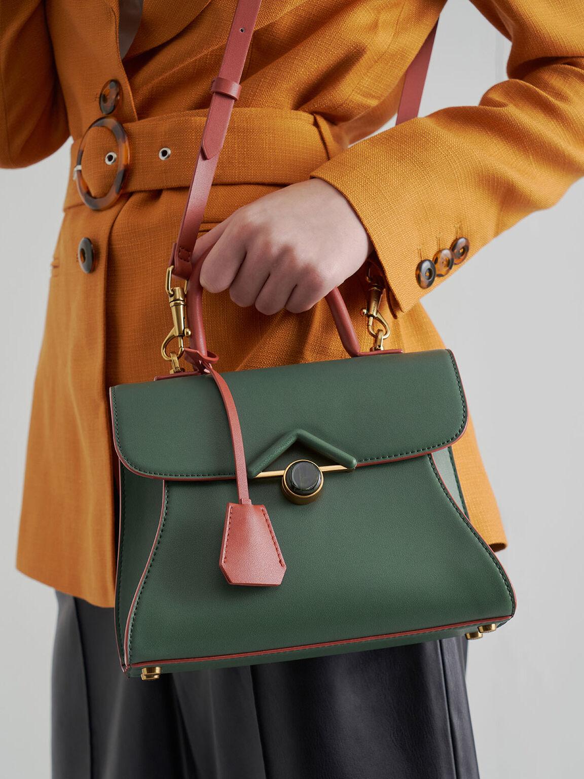Stone Embellished Handbag, Green, hi-res