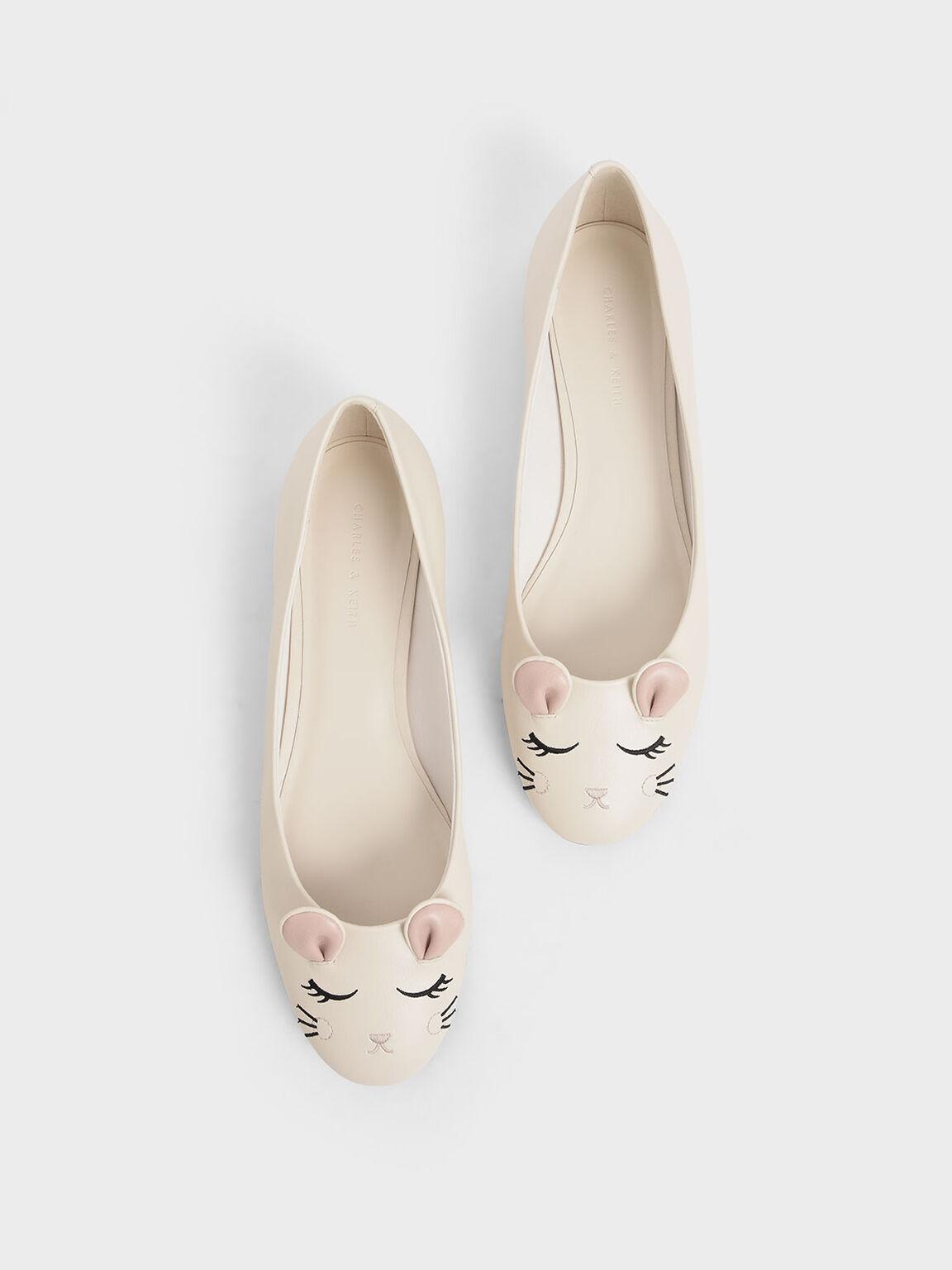 'Rat Zodiac' Ballerina Flats, Cream, hi-res