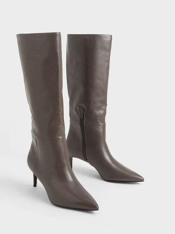 Knee High Boots, Taupe, hi-res
