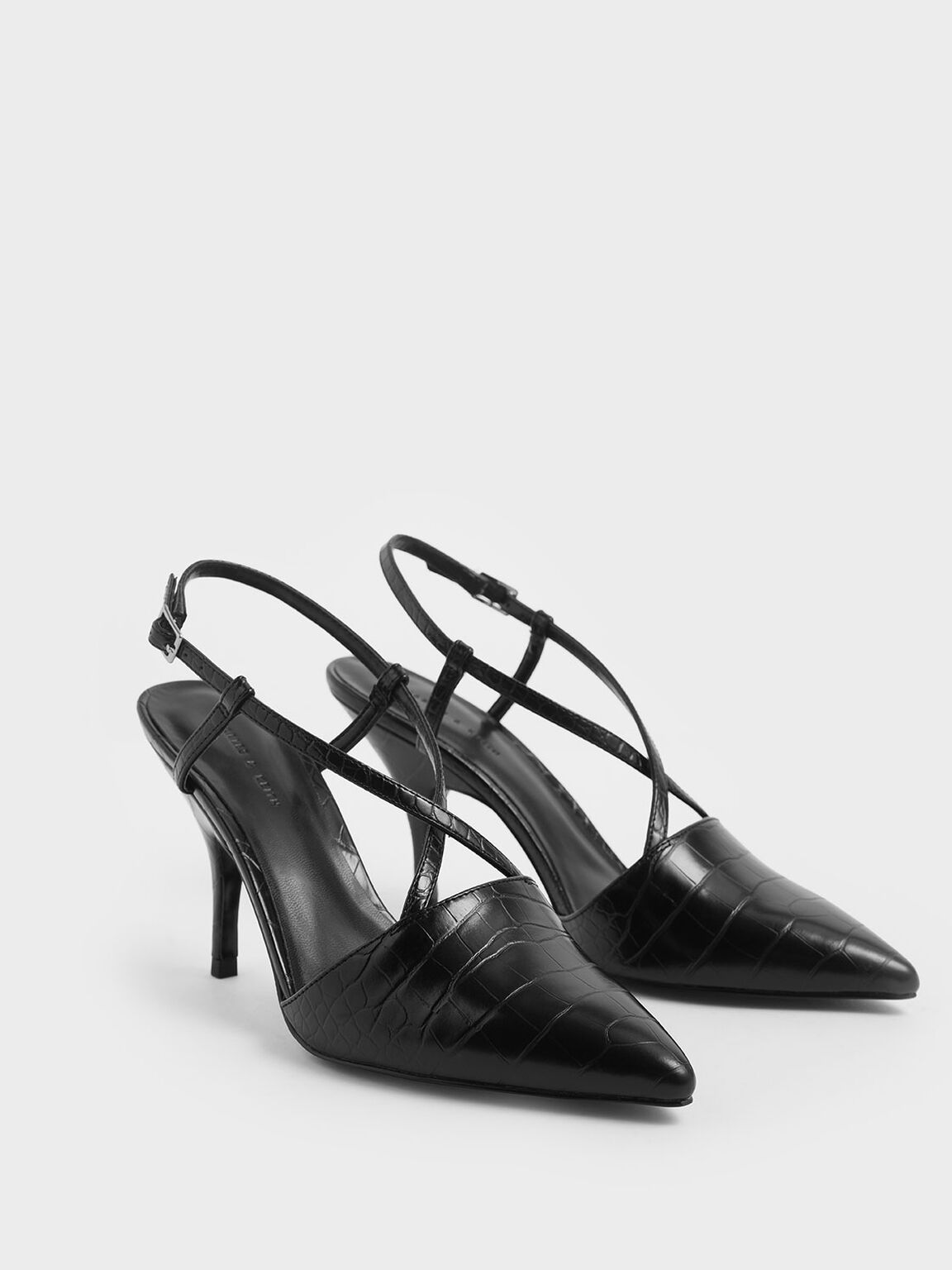 Croc-Effect Criss Cross Strappy Pointed Toe Heels, Black, hi-res