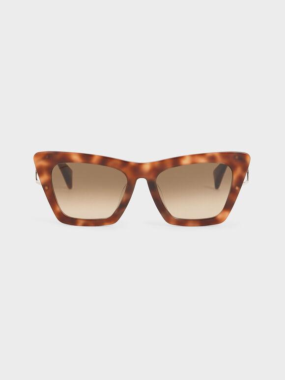 Tortoiseshell Acetate Butterfly Sunglasses, Brown, hi-res