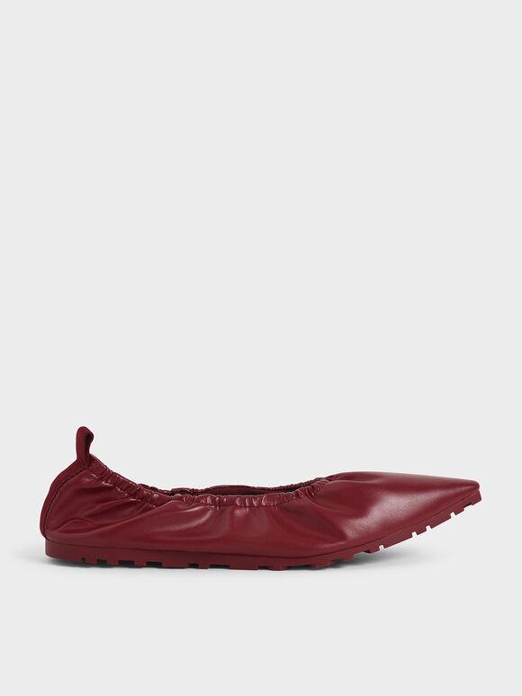 Ruched Ballerina Flats, Red, hi-res