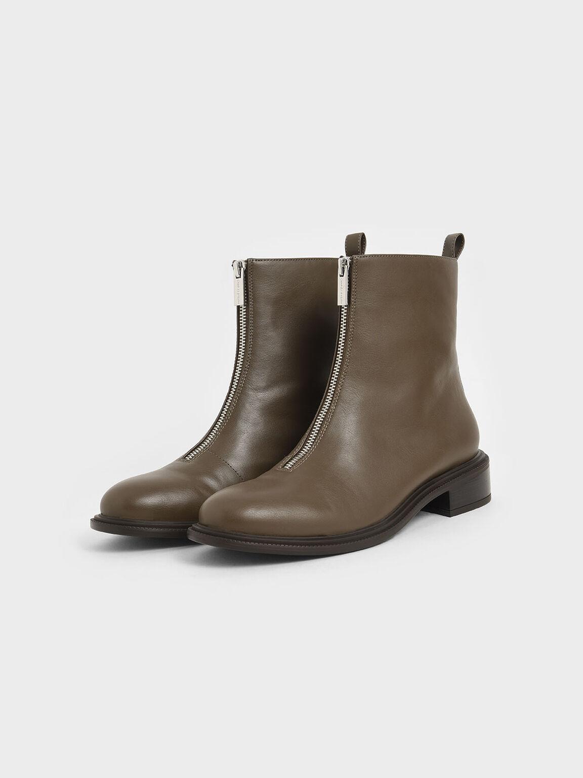 Front Zip Ankle Boots, Dark Brown, hi-res