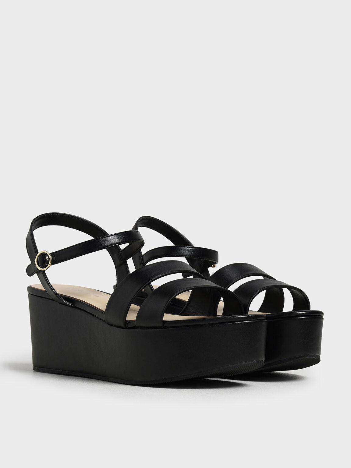 Double Strap Flatform Sandals, Black, hi-res