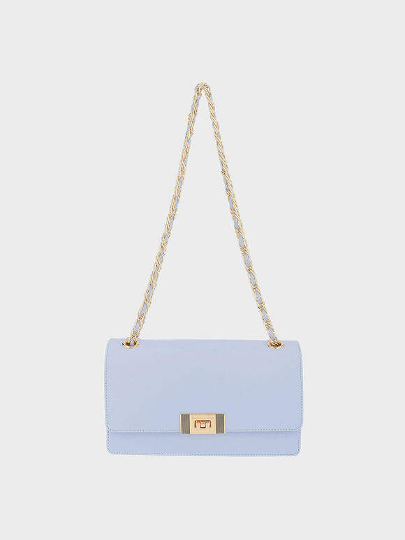 Everette Chain-Strap Shoulder Bag, Blue, hi-res