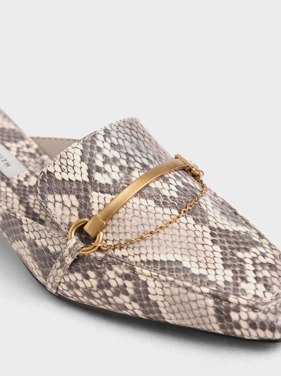 Snake Print Metallic Accent Loafer Mules, Animal Print Natural, hi-res