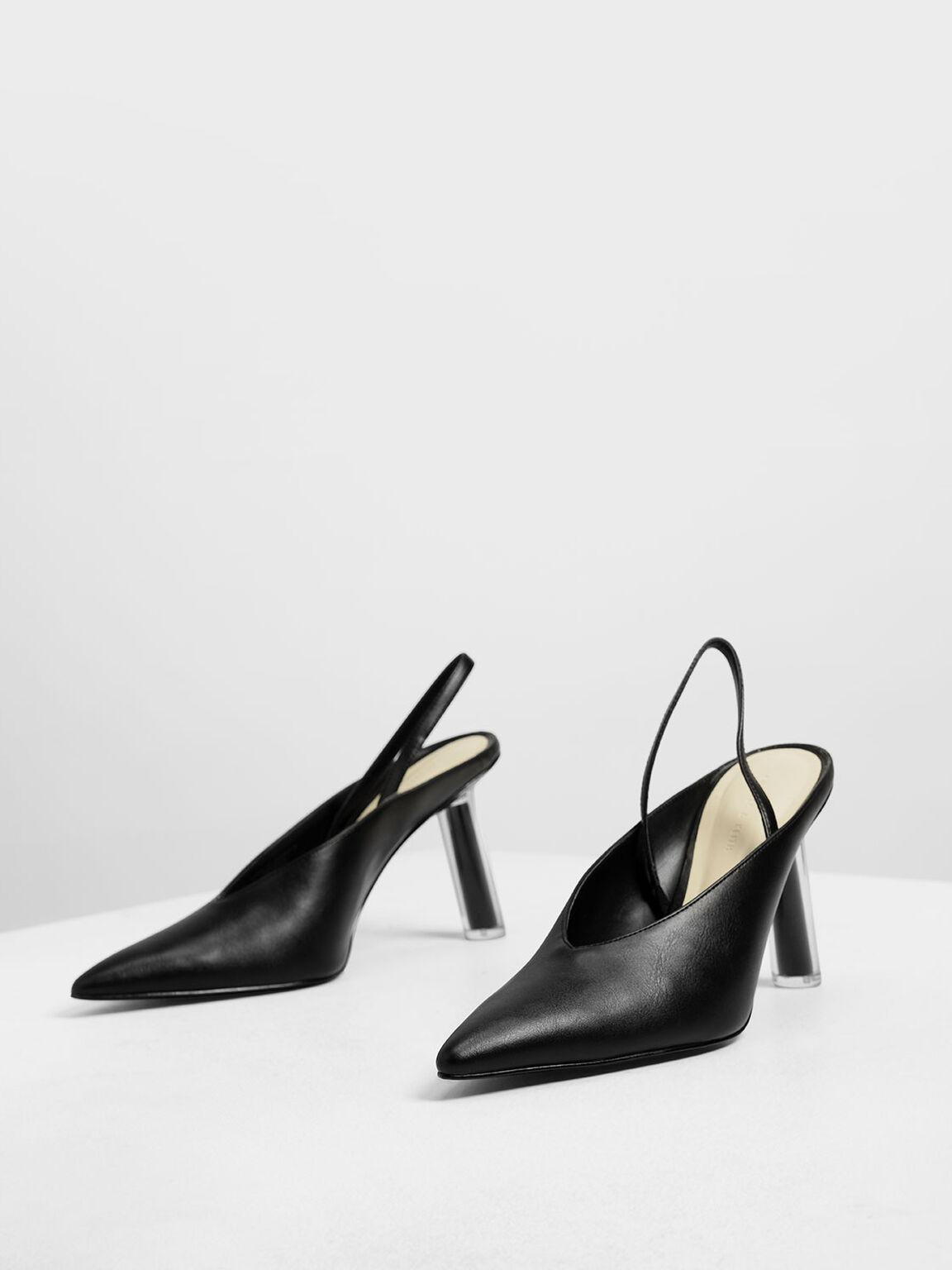 V-Cut Sculptural Heel Slingbacks, Black, hi-res