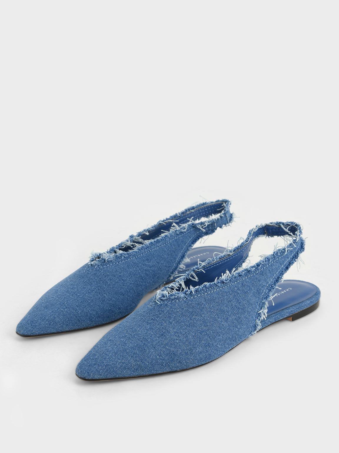 Textured Pointed Toe Slingback Ballerinas, Blue, hi-res