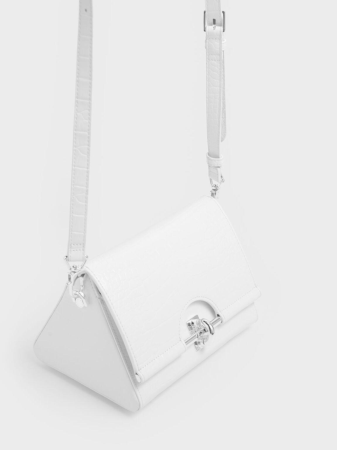 Croc-Effect Turn Lock Bag, White, hi-res
