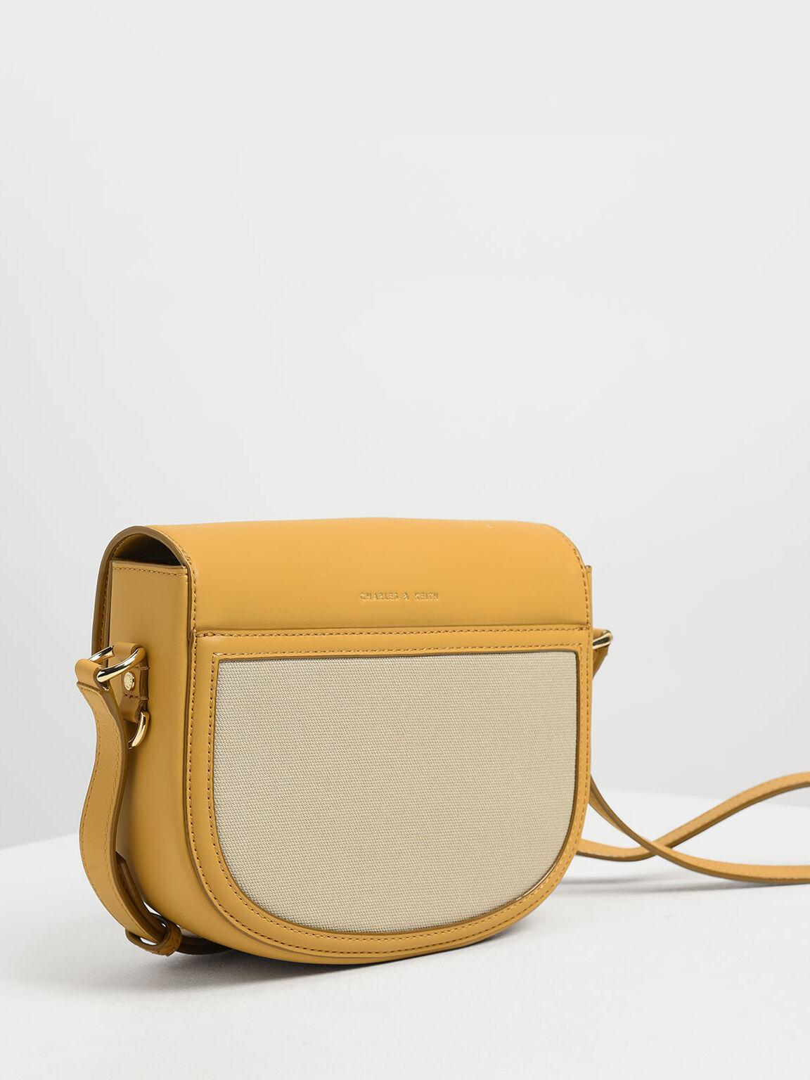 Ring Buckle Saddle Crossbody Bag, Mustard, hi-res