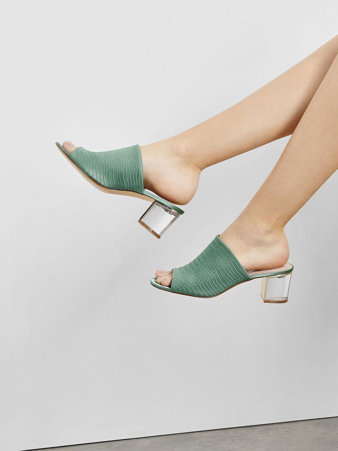 Embossed Fabric Heeled Slide Sandals, Green, hi-res