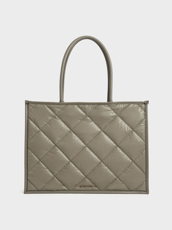Double Handle Quilted Tote Bag, Taupe, hi-res