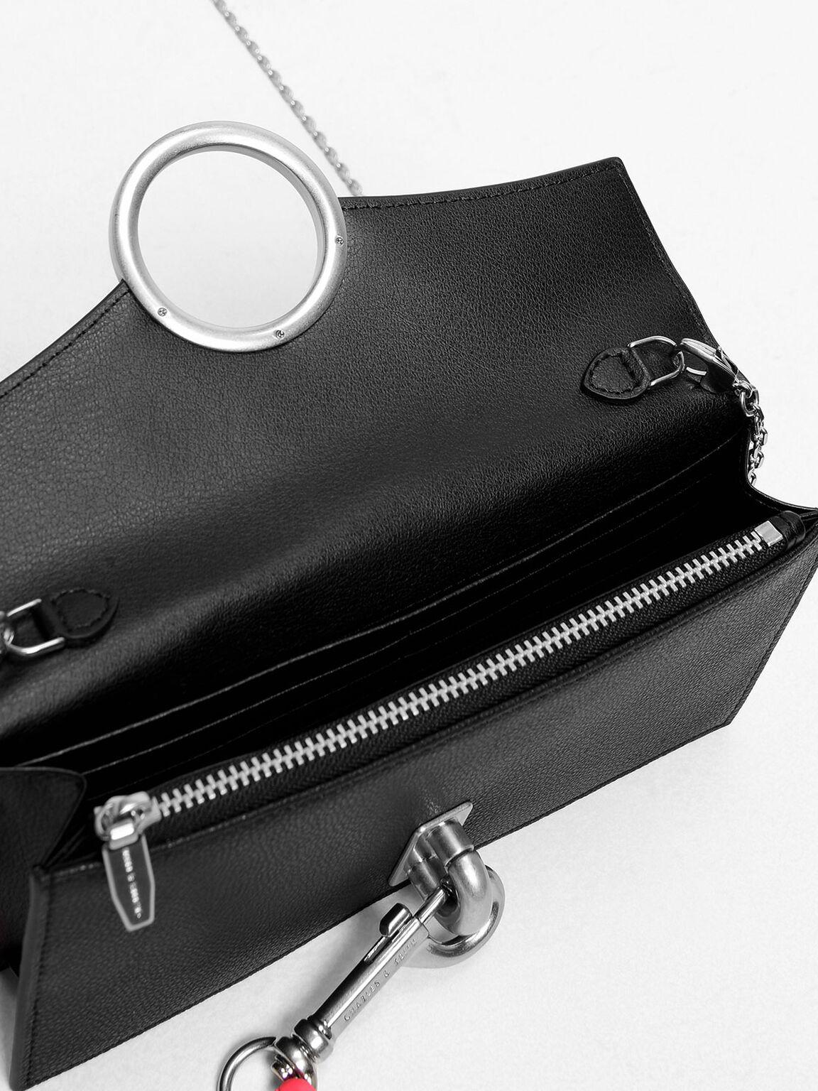 Chain Link Ring Detail Wallet, Black, hi-res