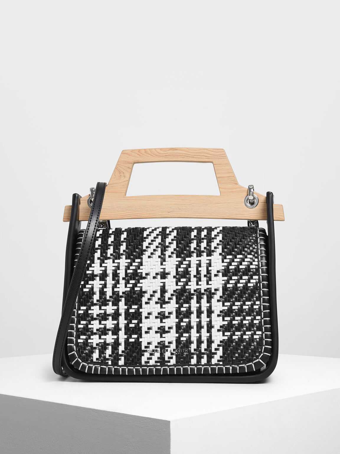 Woven Wood-Effect Top Handle Bag, Black, hi-res