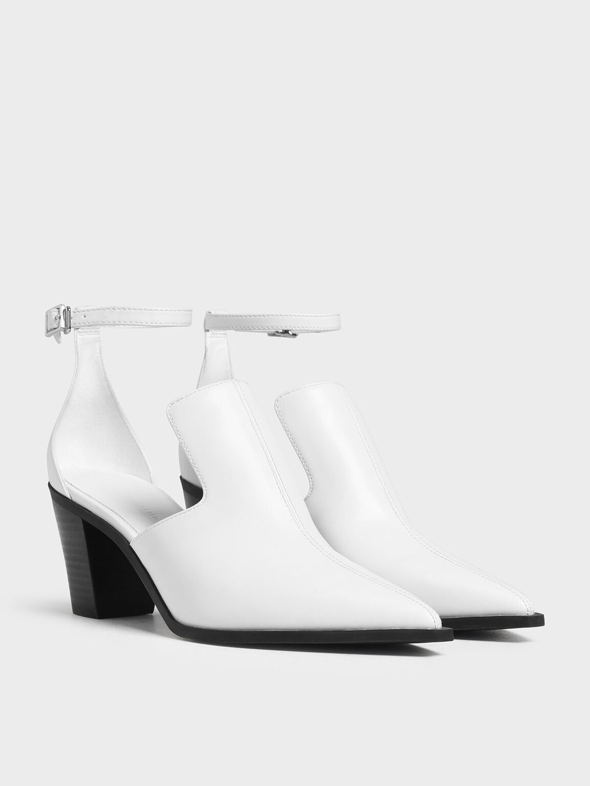 Ankle Strap Booties, White, hi-res