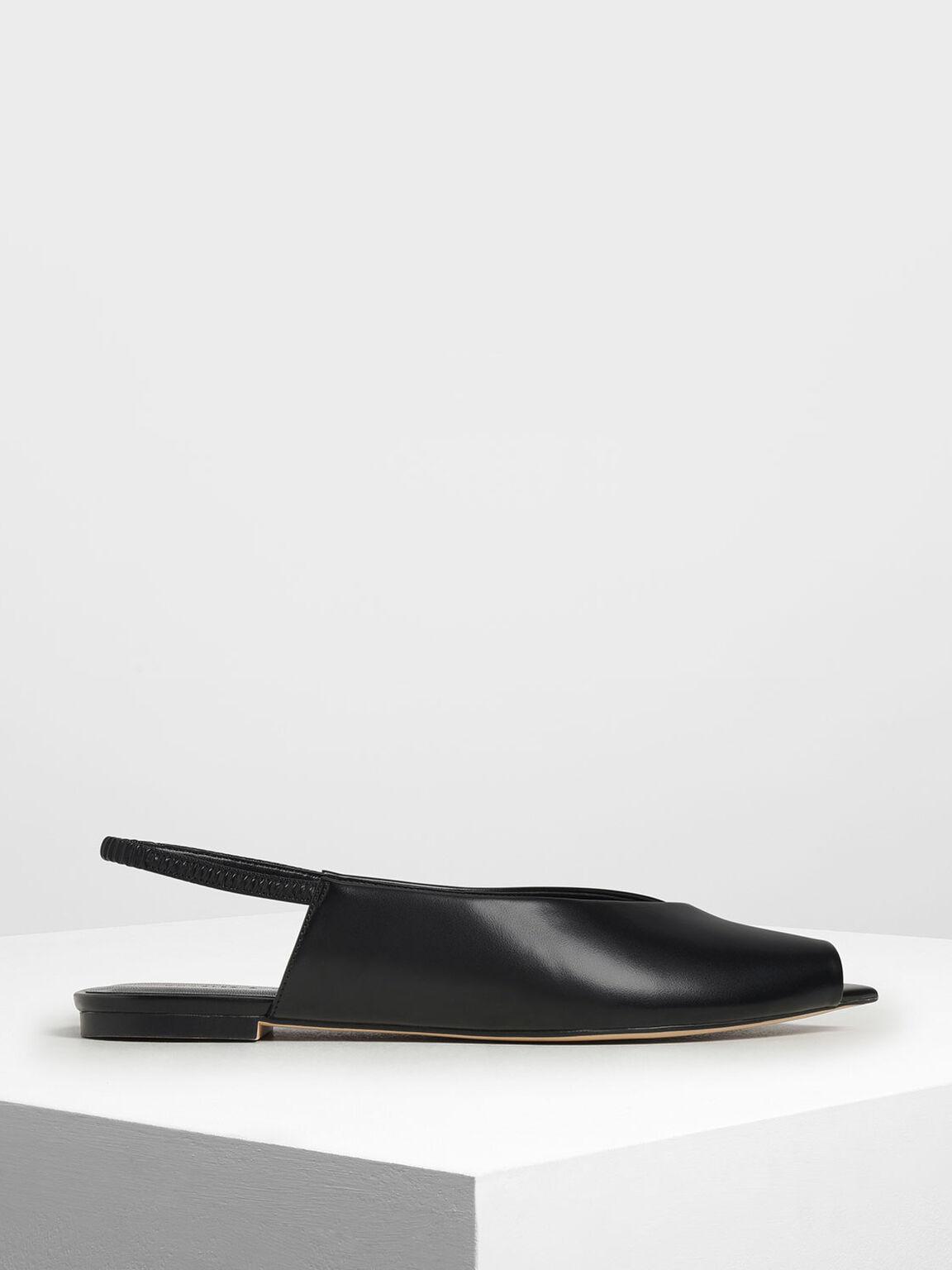 Pointed Peep Toe Slingback Flats, Black, hi-res