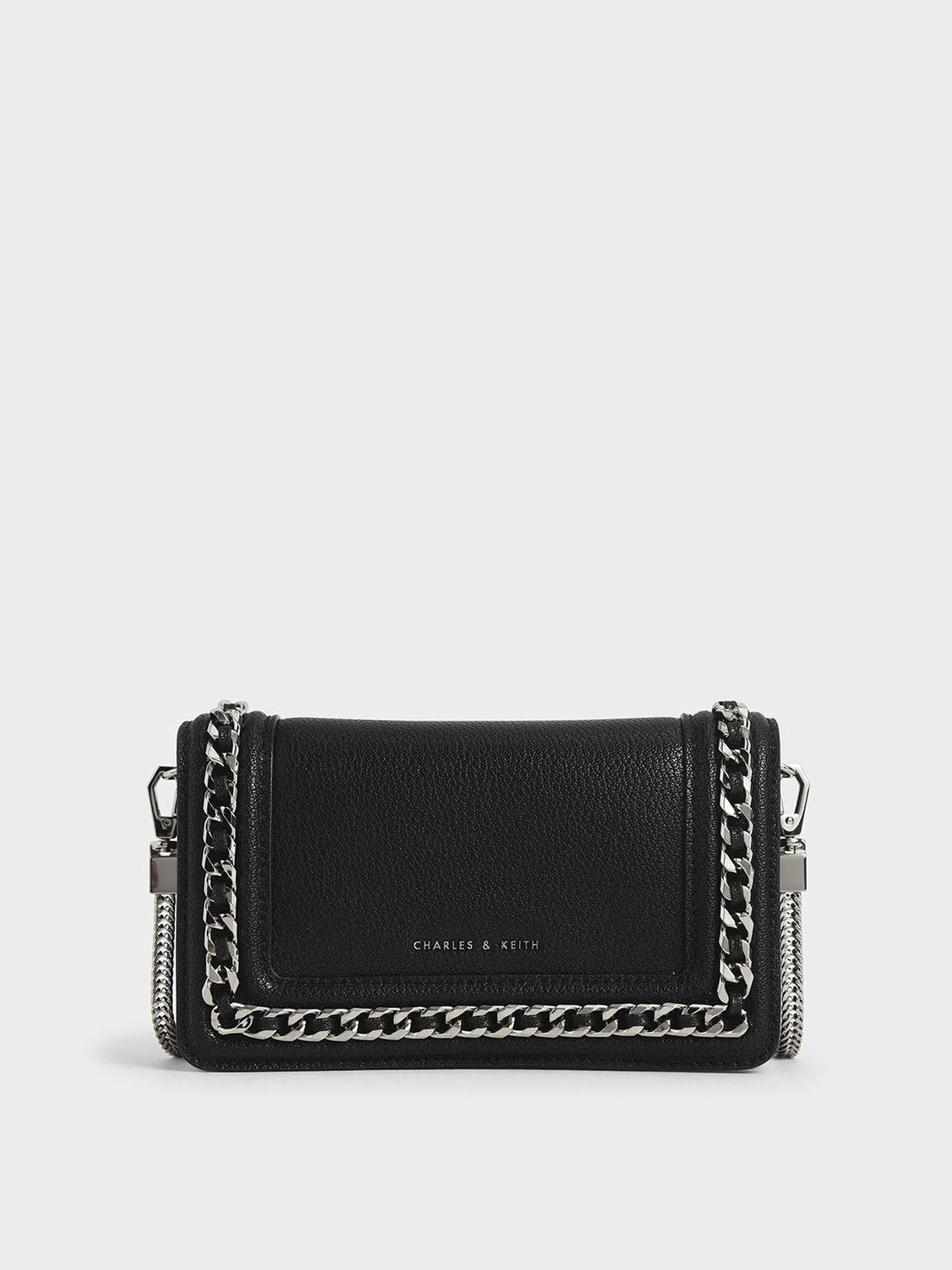 Chain-Trimmed Clutch, Black, hi-res