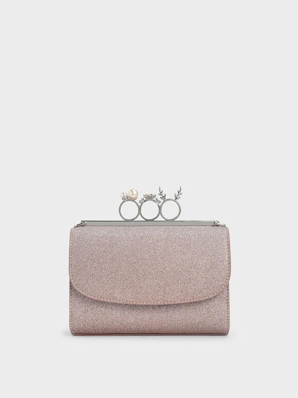 Glittered Knuckle-Ring Clutch, Rose Gold, hi-res
