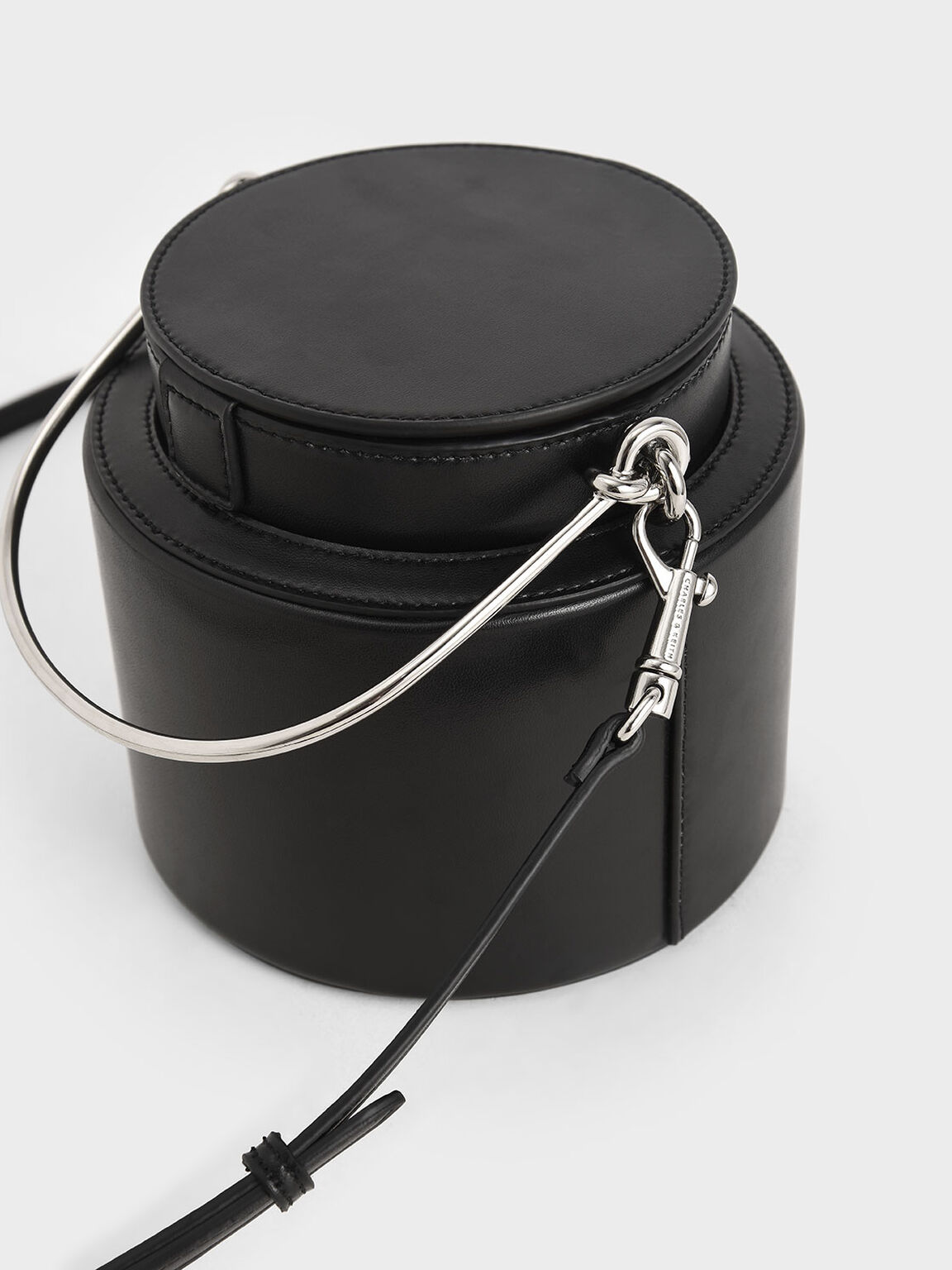 Cylindrical Bucket Bag, Black, hi-res