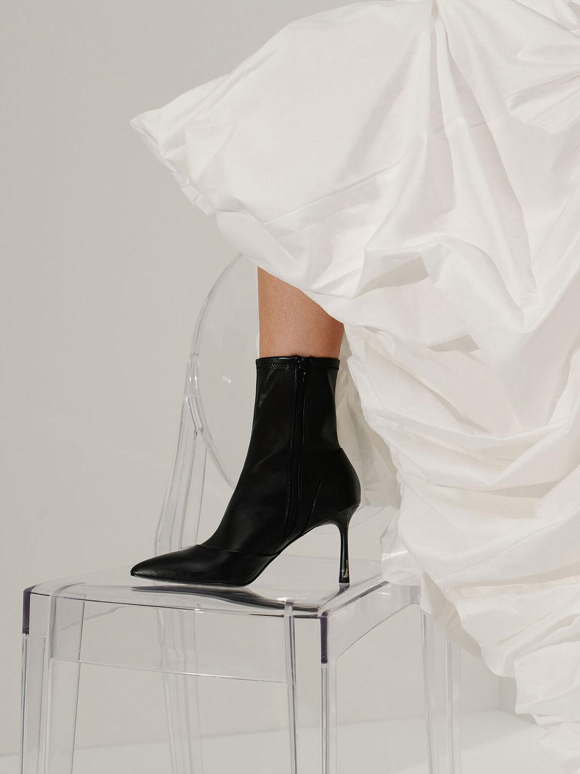 Stiletto Heel Ankle Boots, Black, hi-res