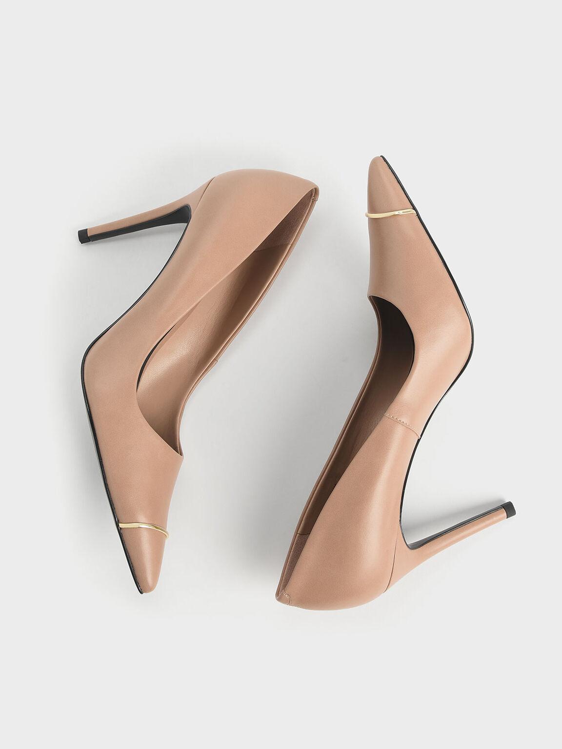 Metallic Accent Pointed Toe Stiletto Pumps, Nude, hi-res
