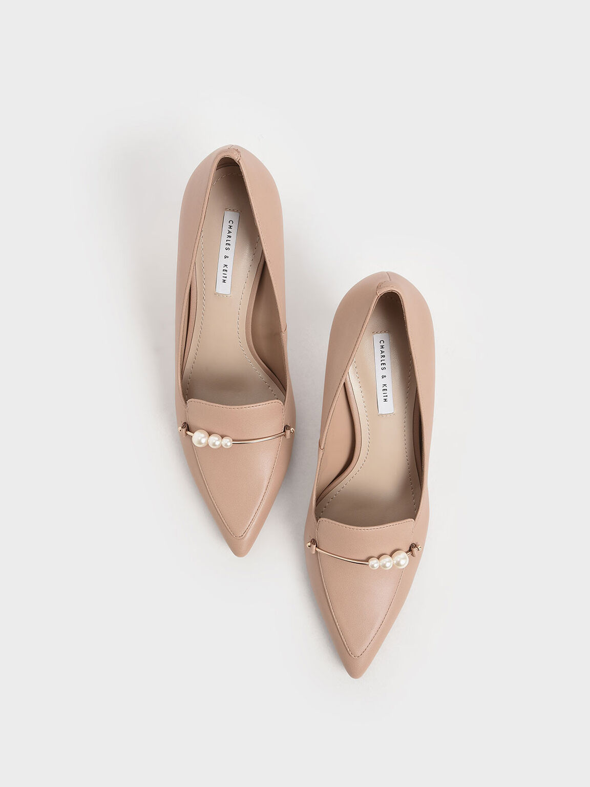 Embellished Loafer Pumps, Nude, hi-res