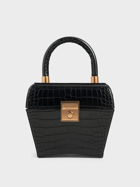 Croc-Effect Sculptural Bag, Black, hi-res