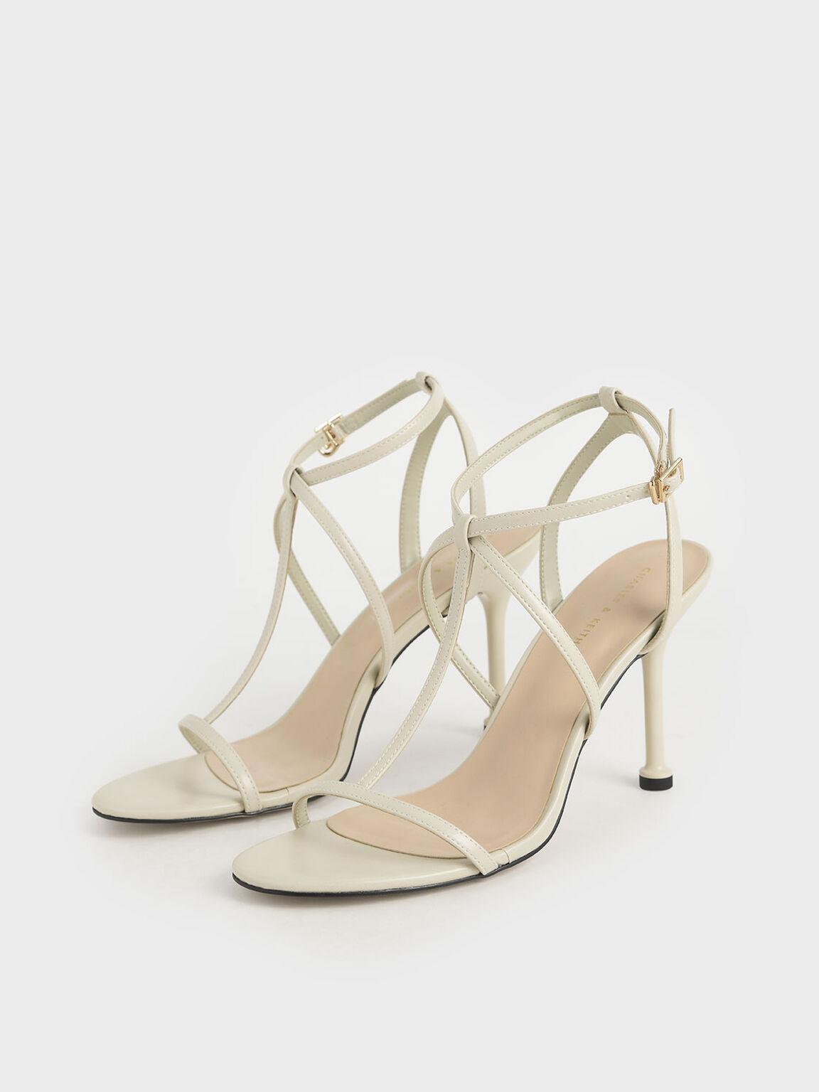 Strappy Stiletto Heels, Chalk, hi-res