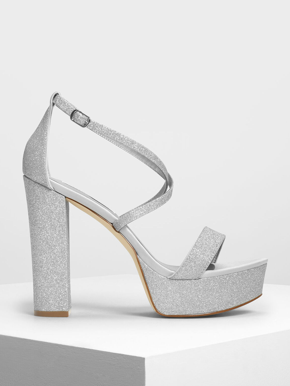 Chunky Glitter Platforms, Silver, hi-res