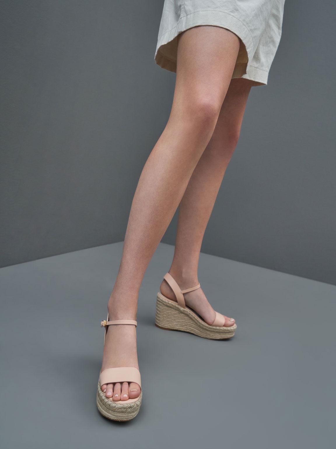 Ankle Strap Espadrille Wedges, Nude, hi-res