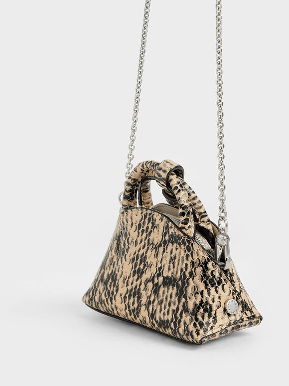 Snake Print Mini Dome Pouch, Beige, hi-res