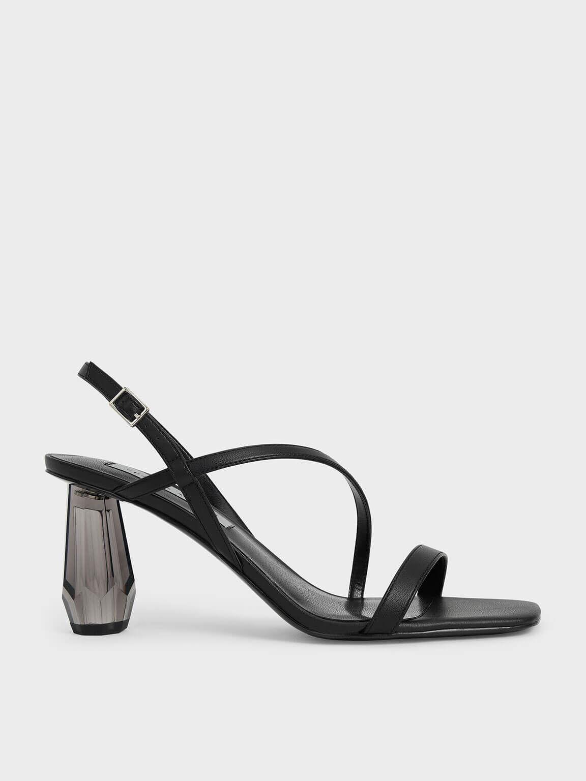 See-Through Sculptural Heel Sandals, Black, hi-res