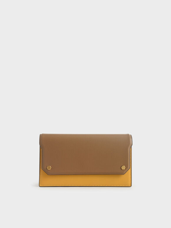 Two-Tone Mini Long Wallet, Yellow, hi-res