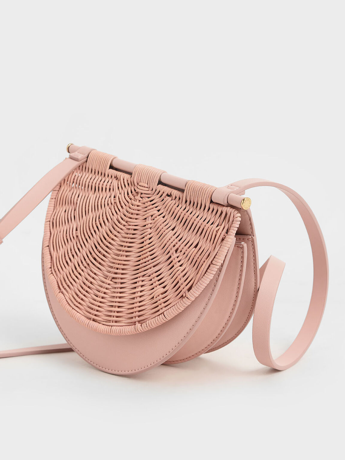 Rattan Semi-Circle Crossbody Bag, Pink, hi-res