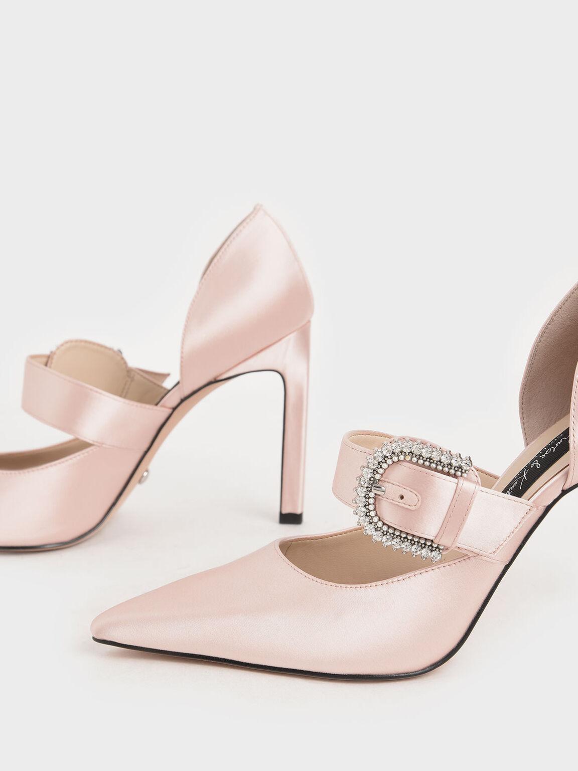 Wedding Collection: Satin Embellished-Buckle Pumps, Pink, hi-res