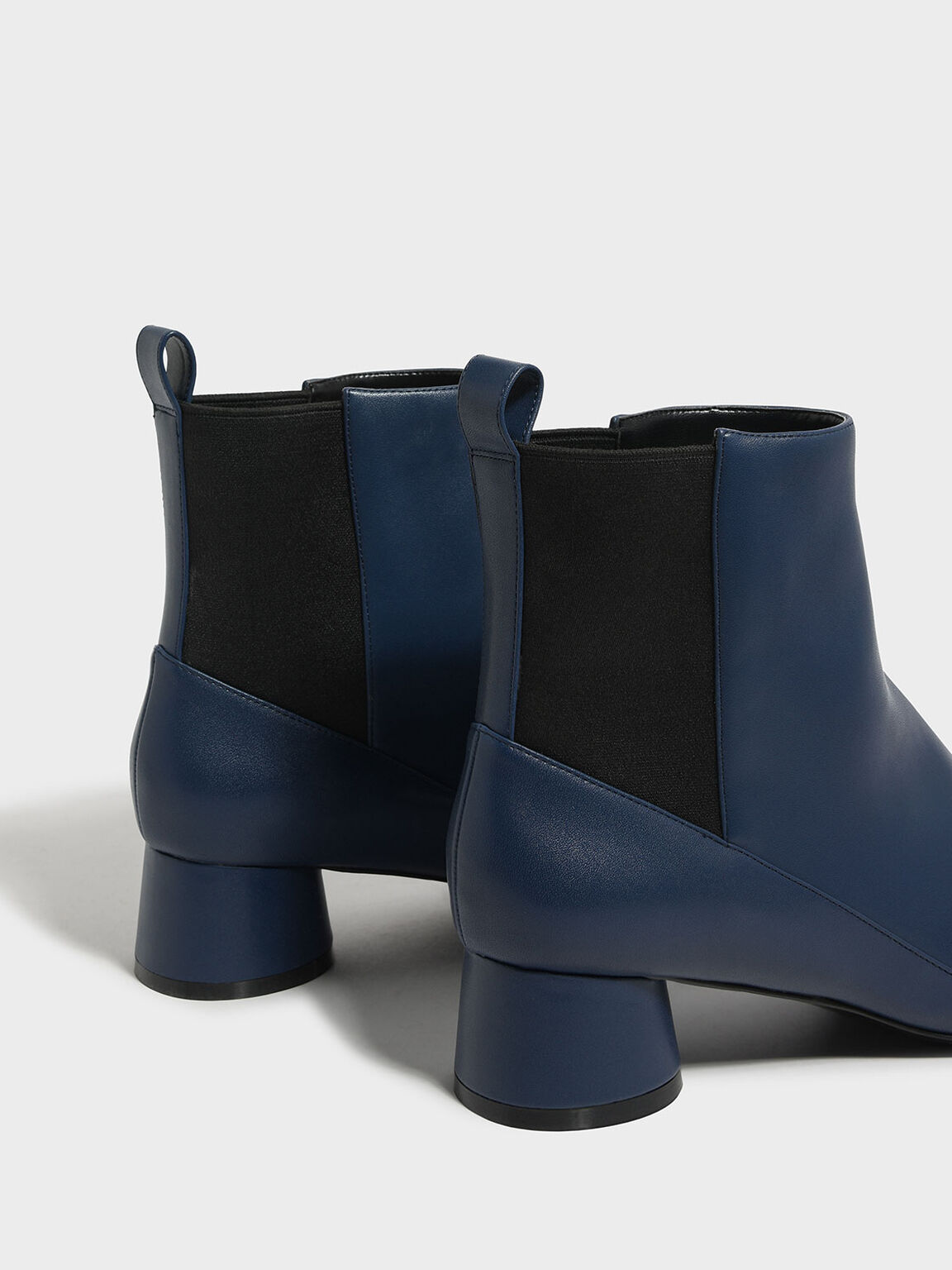 Cylindrical Heel Chelsea Boots, Blue, hi-res