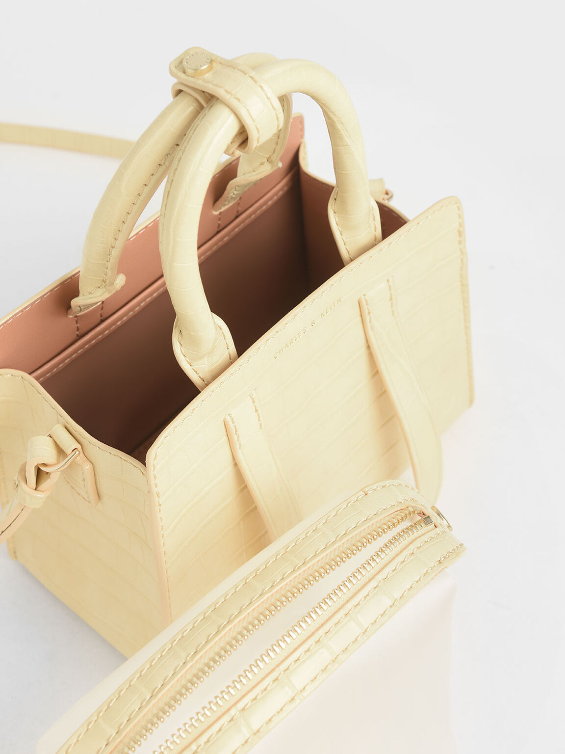Croc-Effect Top Handle Bag, Yellow, hi-res