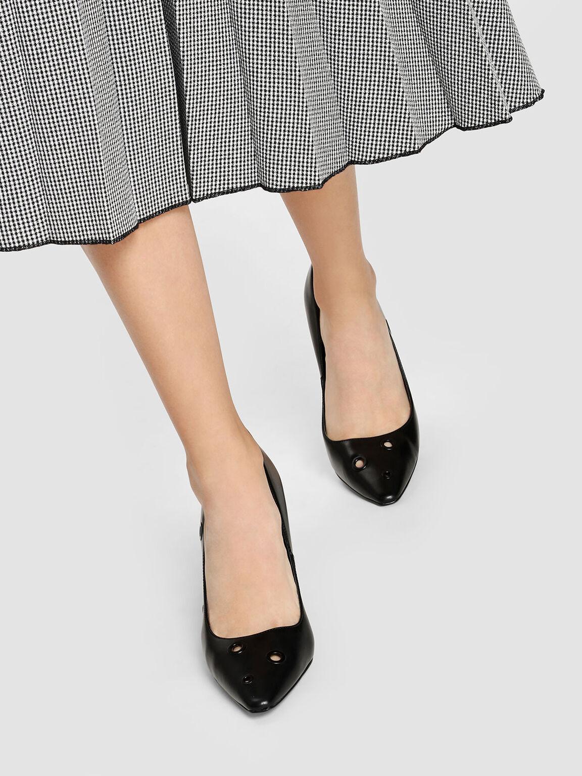 Eyelet Detail Heels, Black, hi-res