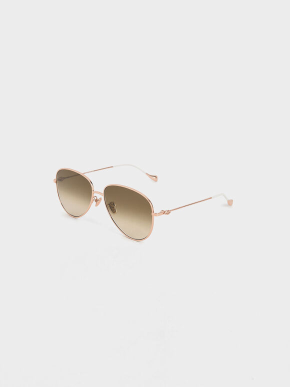 Aviator Sunglasses, Rose Gold, hi-res
