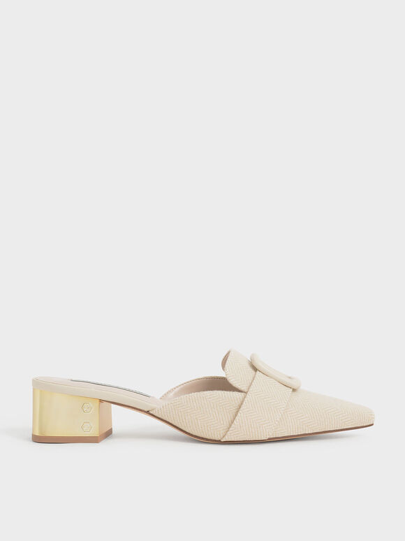 Woven Buckled Mules, Beige, hi-res