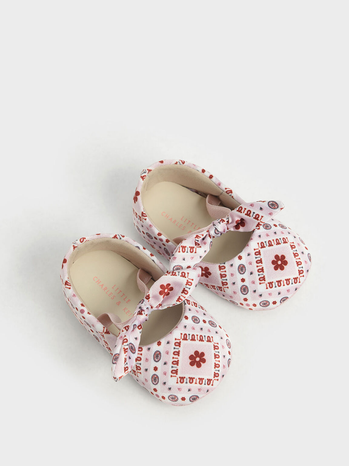 The Purpose Collection - Baby Girls' Bandana Print Bow Ballerinas, Pink, hi-res