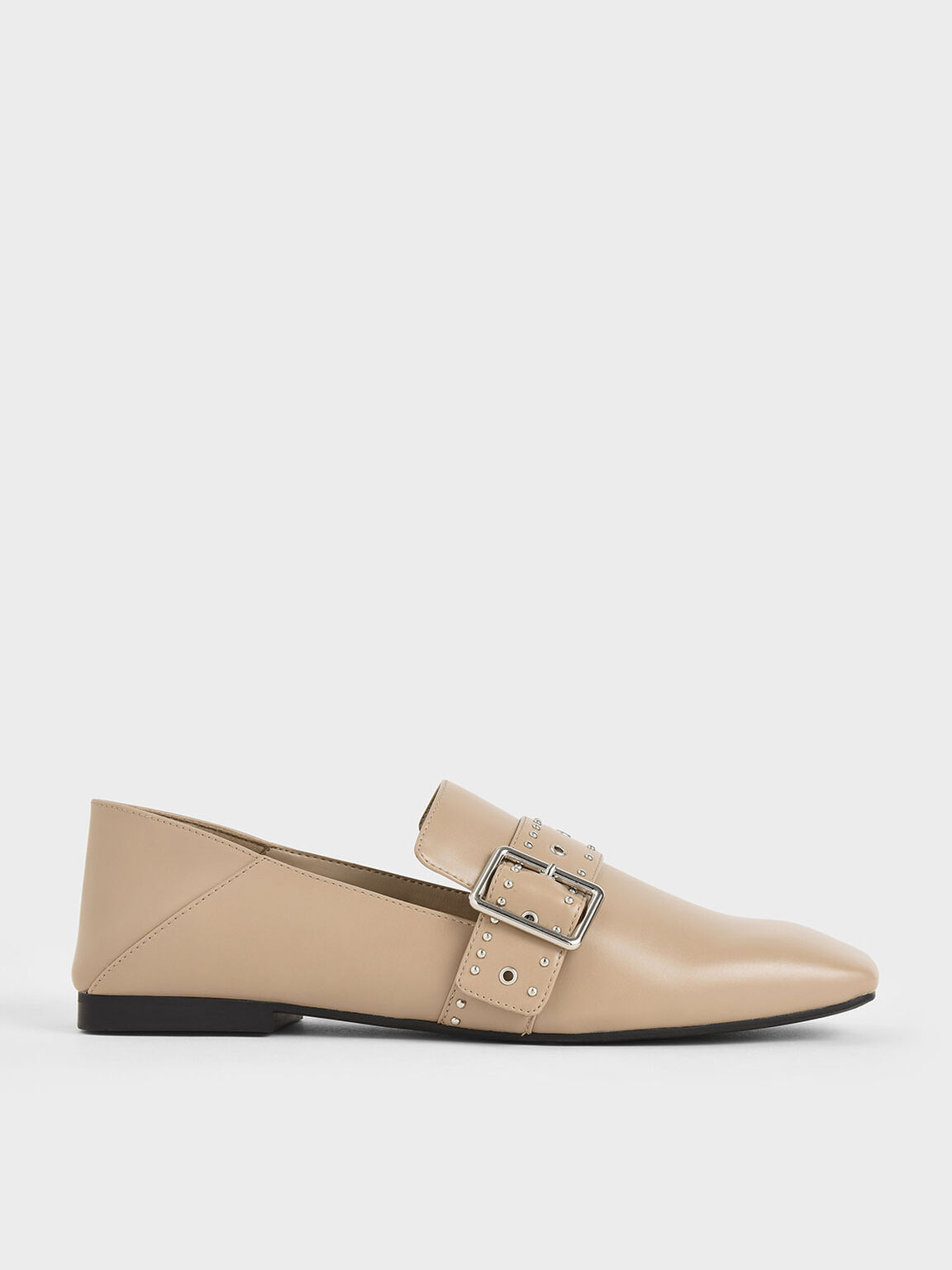 Grommet Buckle Step-Back Loafers, Nude, hi-res