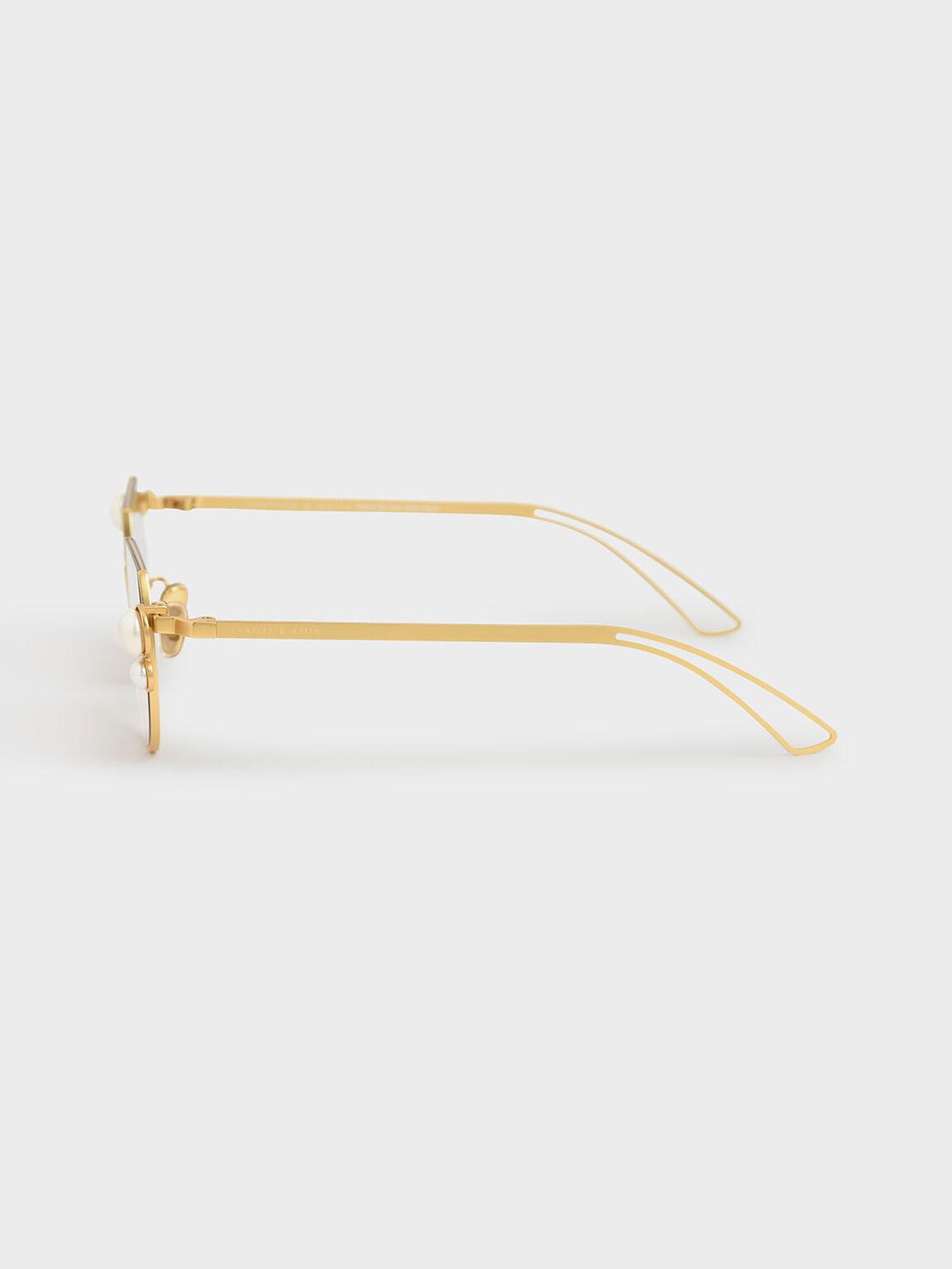 Swarovski® Crystal Pearl Embellished Cut-Off Round Sunglasses, Gold, hi-res