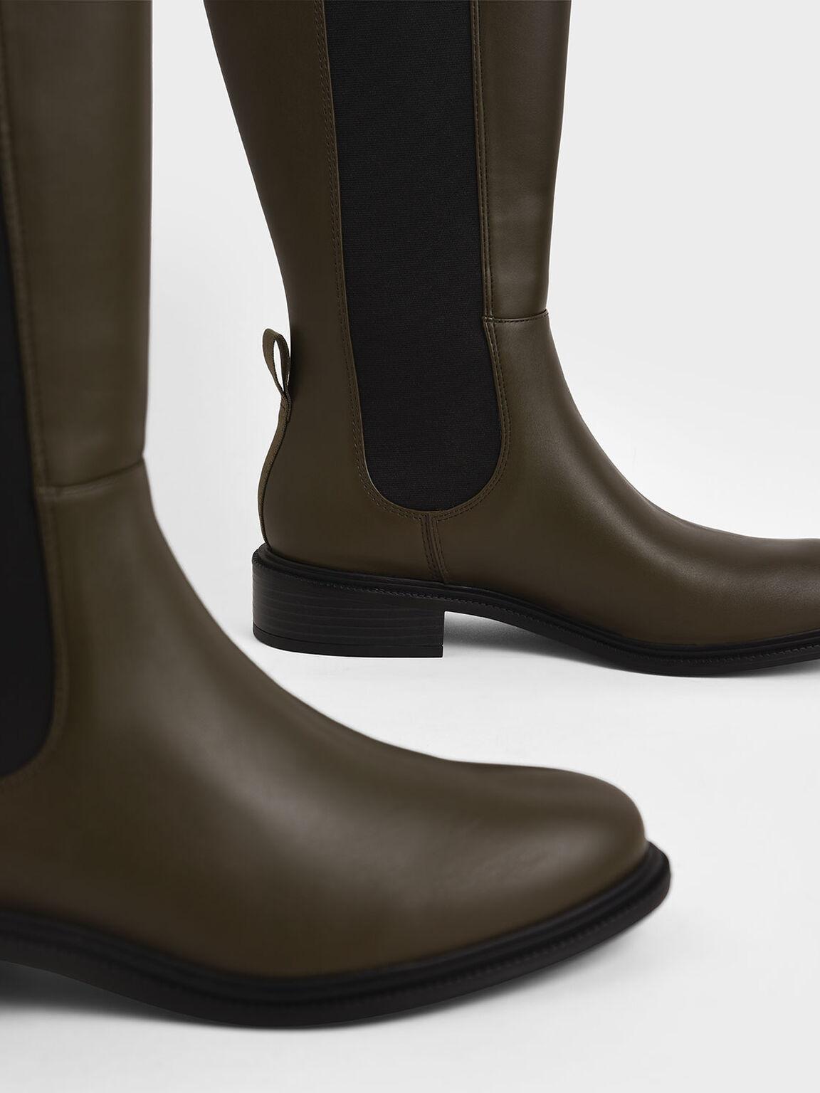 Knee High Chelsea Boots, Olive, hi-res